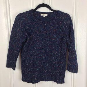 Madewell crewneck navy colored 3/4 sleeve sweater